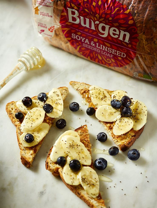 Toast spread with nut butter, sliced banana, blueberries, chia seeds and a drizzle of honey or maple syrup.