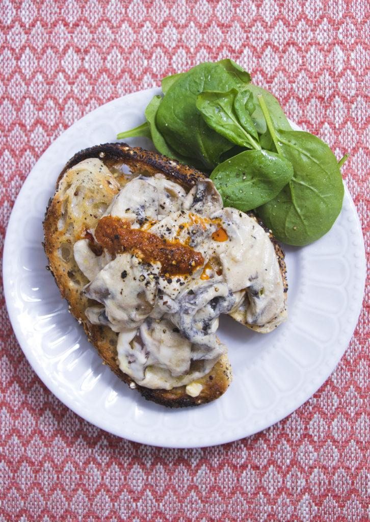 Creamy Garlic Mushrooms on Toast with Pesto