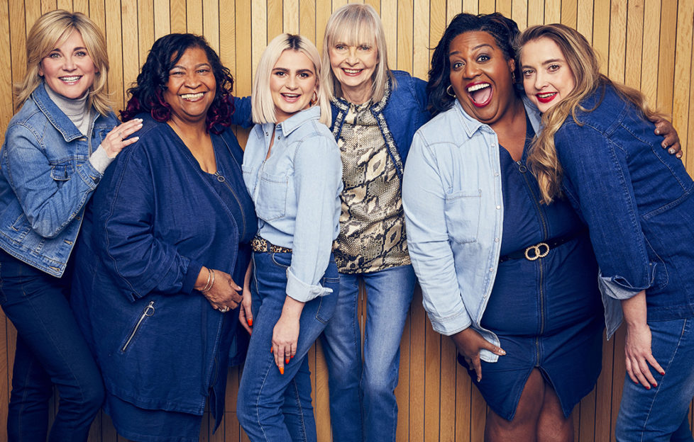 Anthea, Maria, Claudia, Jan, Alison and Daisy in blue denim clothes, all laughing