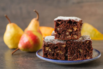Chocolate and pear cake cut into squares Pic: Istockphoto