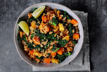 Vegan pilau rice with cavolo nero, seeds, ginger and harissa