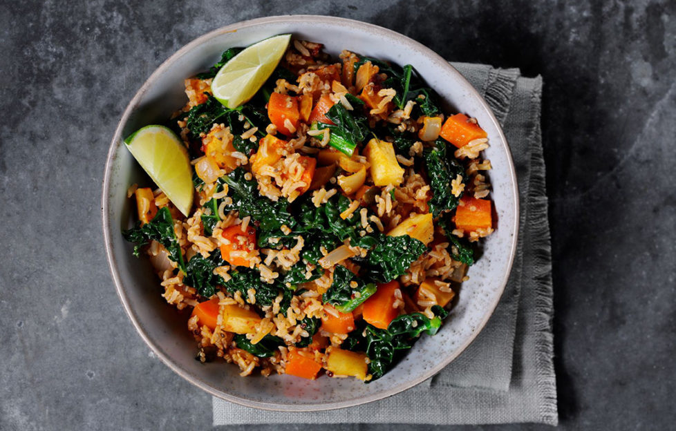 Vegan pilau rice with cavolo nero, seeds, ginger and harissa