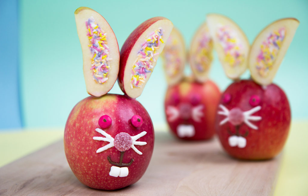 Easter bunnies made with apple