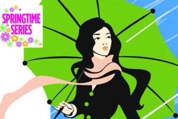 girl with an umbrella in the springtime rain
