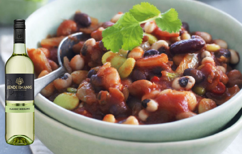 Bean veggie recipe with a bottle of Kendermanns Classic Riesling