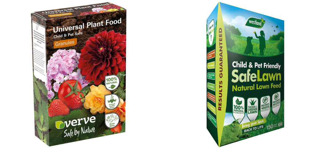 Boxes of Verve Safe Lawn treatment and plant food