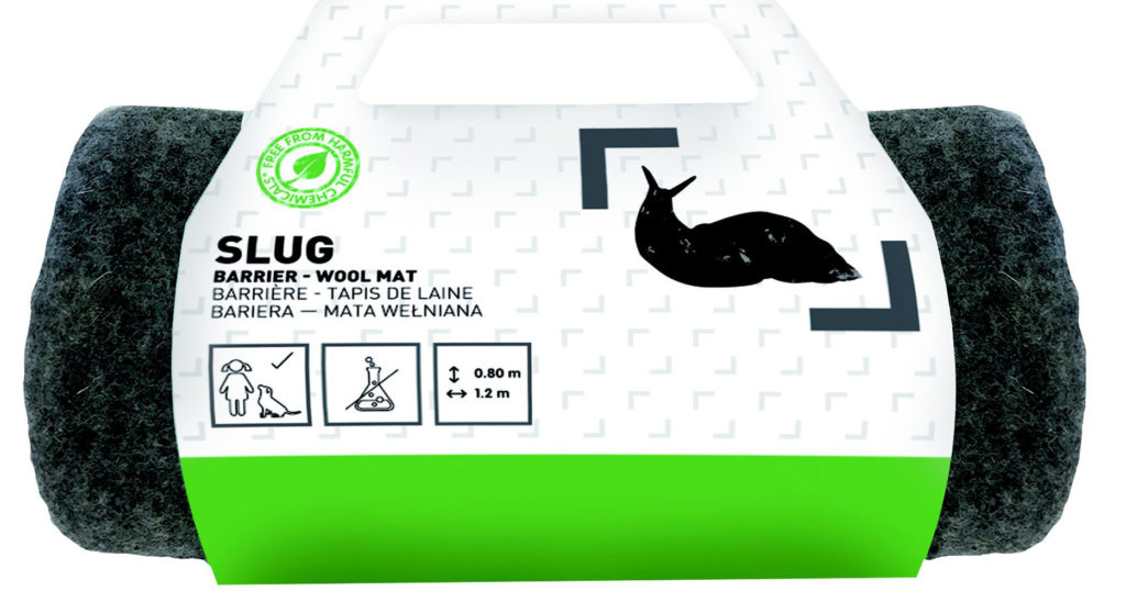 Black woollen slug repellent mat, rolled up in green and white packaging
