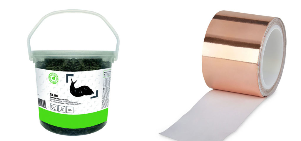 Tub of woollen slug repellent pellets and roll of copper tape for plant pots