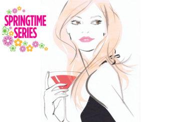 Elegant lady in black dress with cocktail Jacqueline Bisset, Stock Illustrations