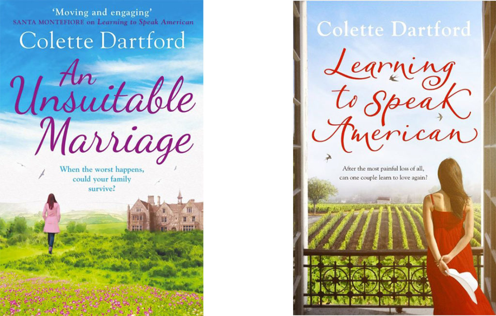 Front covers of Colette Dartford's teo published novels, An Unsuitable Marriage and Learning To Speak American