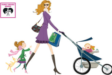 Family fiction Illustration of young mum in short purple coat, pushing child in buggy and talking to small girl running behind her