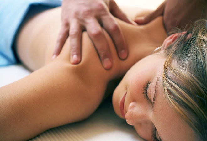 lady getting a back massage