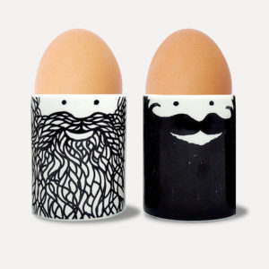 Two egg cups with beard design