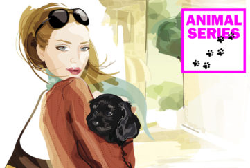 Illustration of a woman holding a black puppy. in a park, doggy romance story Illustration: Istockphoto