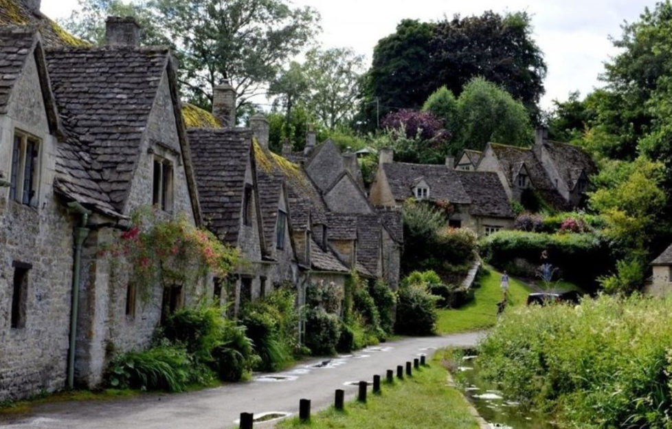 a row of beautiful old houses