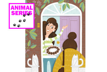 Lady answering door with a plate of biscuits in her hand Illustration: LAUREN REBBECK, WWW.LAURENREBBECK.COM
