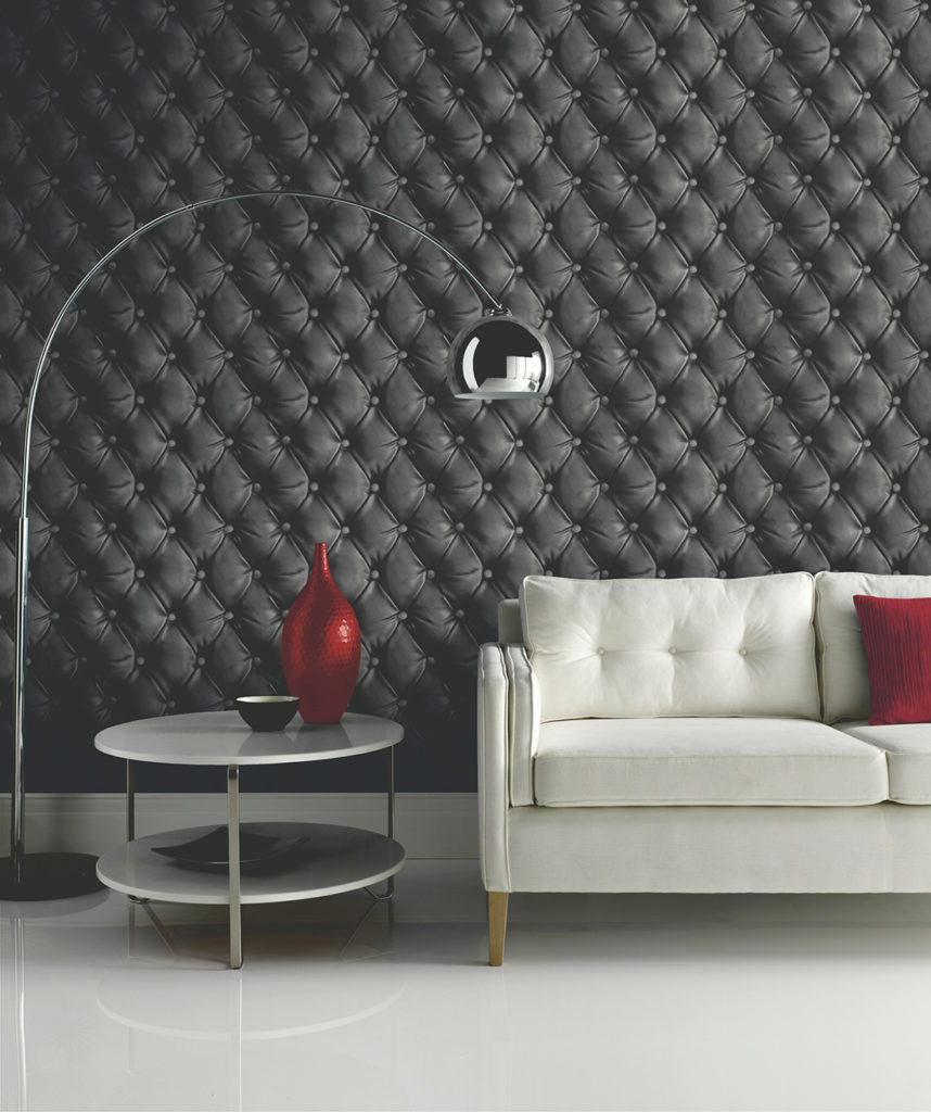 Arthouse Desire Faux Leather Cushioned Wallpaper - Black