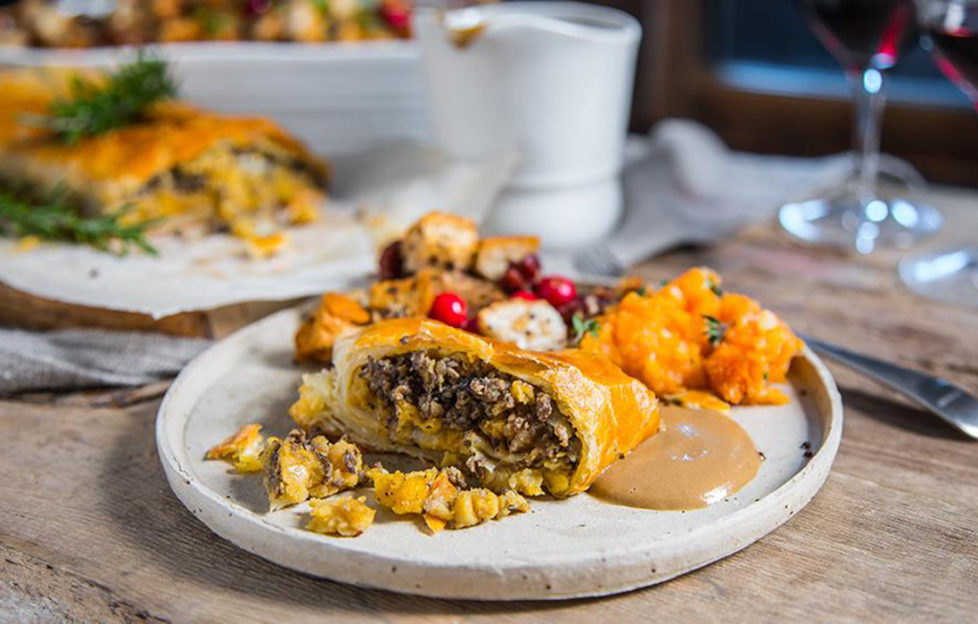 Lentil Wellington with sweet potato mash