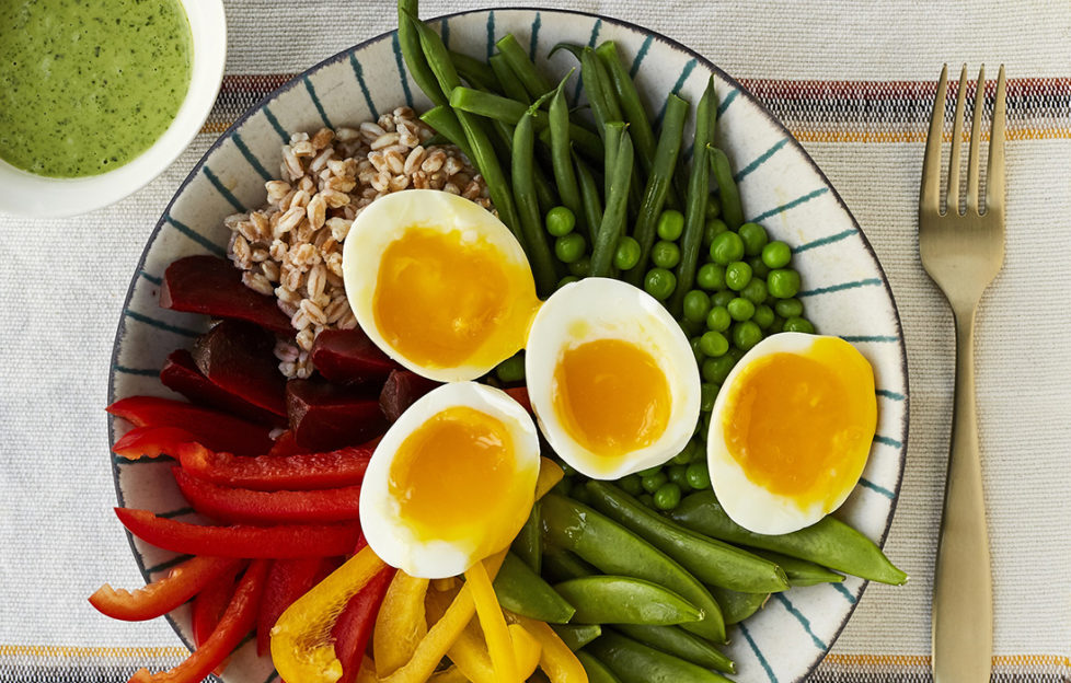 Boiled eggs and rainbow salad