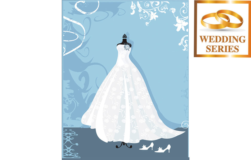 Illustration for My Weekly wedding fictionof wedding dress in shop window