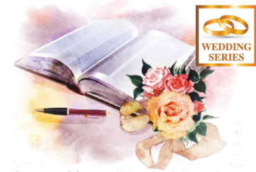 Painting of bouquet of peach/yellow roses, marriage register open for wedding witness to sign