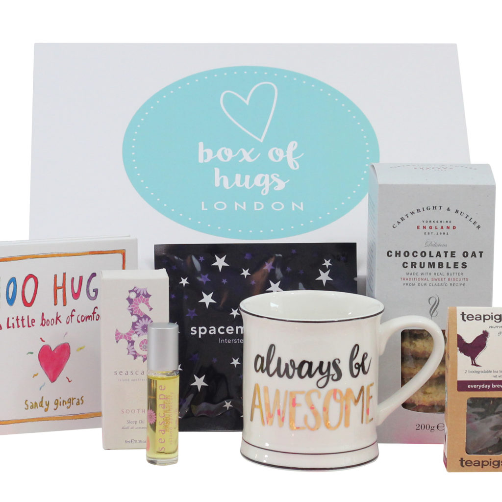 Contents of self care themed Box Of Hugs, listed in text