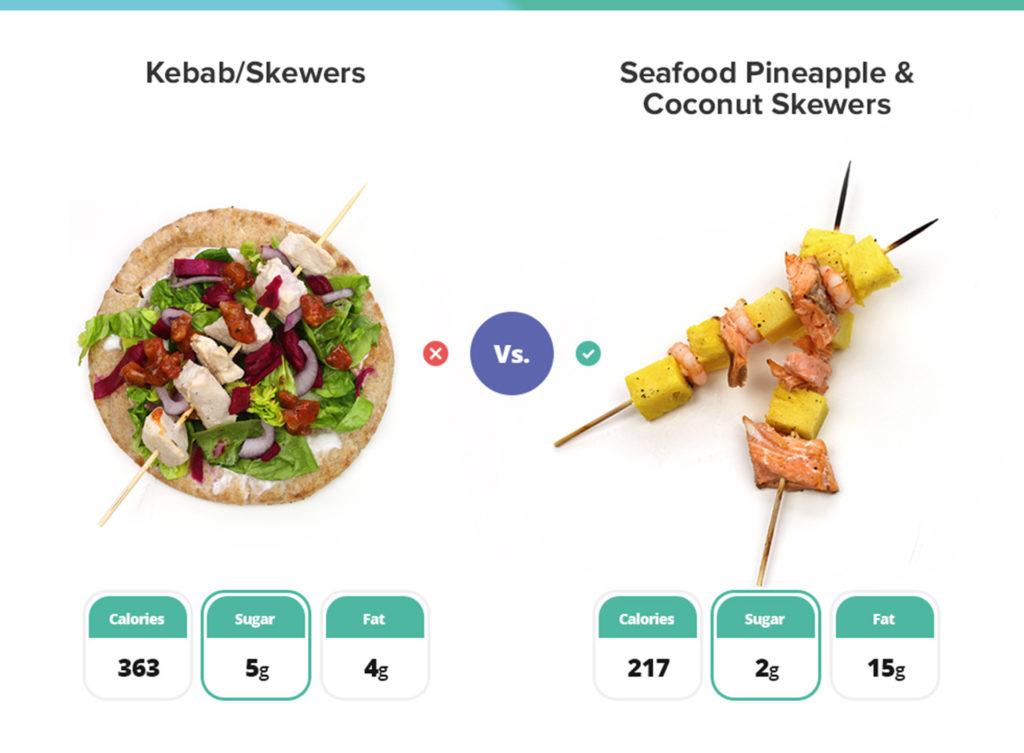 One chicken kebab, one seafood kebab