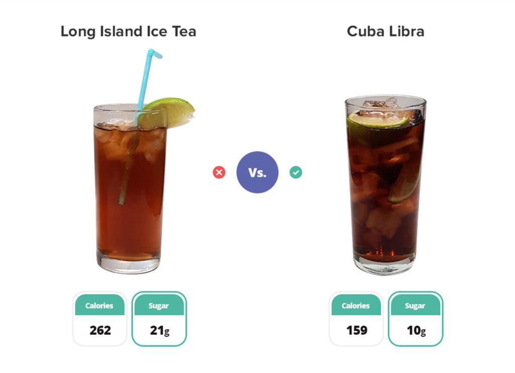 Long island tea cocktail and a cuba libra