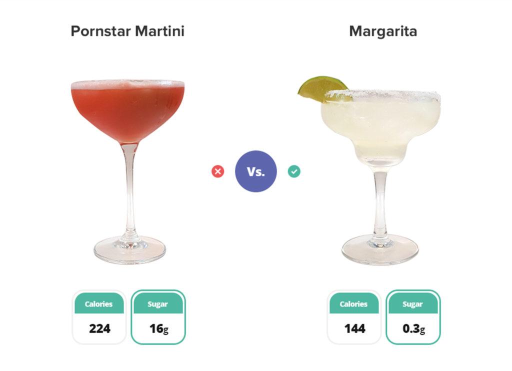 Pornstar martini cocktail and margarita