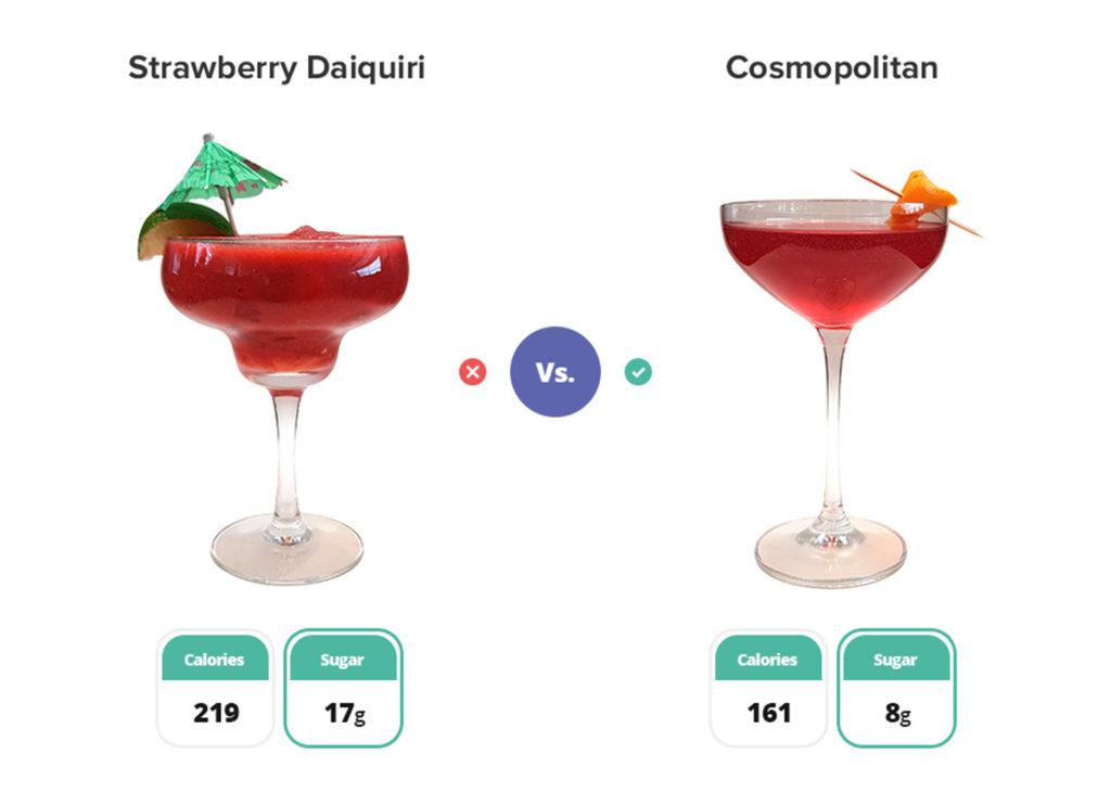 strawberry daiquiri cocktail and a cosmopolitan