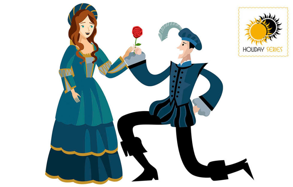 Digital cartoon of couple in Elizabethan dress, man kneeling, presenting woman with a red rose