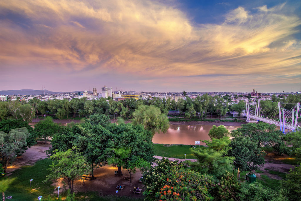 View over park and river towards city, lilac sky