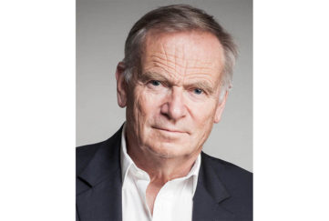 Relaxed portrait of Lord Jeffrey Archer. He is publicising his latest book Nothing Ventured