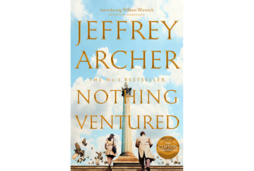 Cover of nothing ventured by jeffrey archer, businessman and woman walking up steps past monument on Roman column