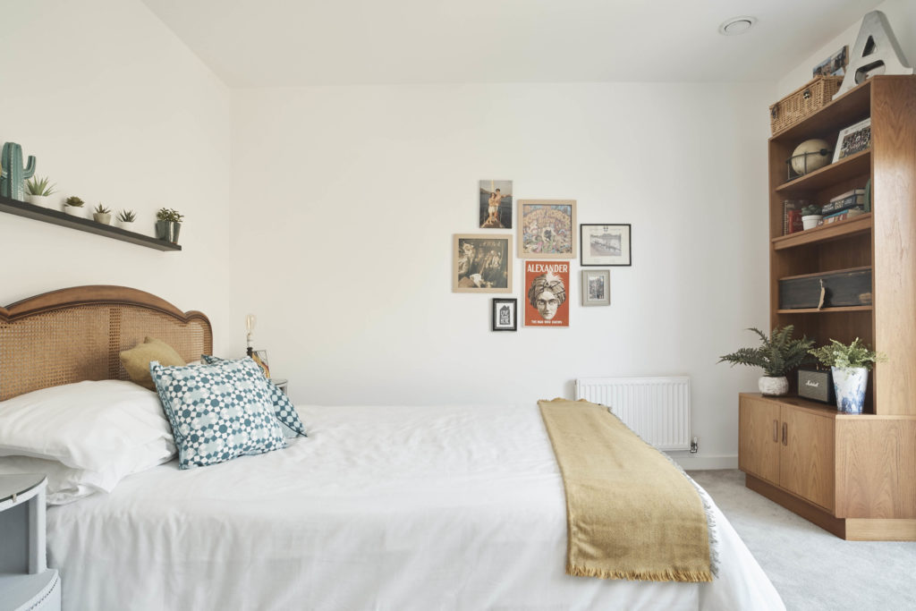 BHF makeover. Neat room with sleek bedside units, long shelf and tall dresser