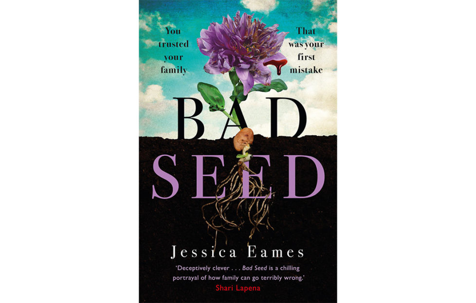 Cover of Bad Seed, cross section of purple flower with roots under earth, petal dripping blood