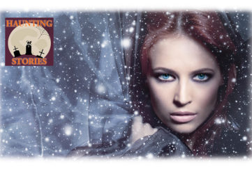 Woman with intense stare, grey velvet background with superimposed stars, the girl in the road