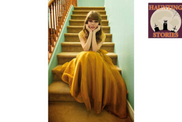 Young woman in mustard coloured floaty dress sits at the bottom of a flight of stairs, chin in hands, looking alarmed, scared of lightning