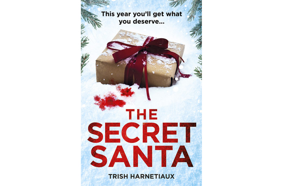 Cover of The Secret Santa by Trish Harnetiaux, Christmas gift lying in the snow, pine branches, blood spots on snow