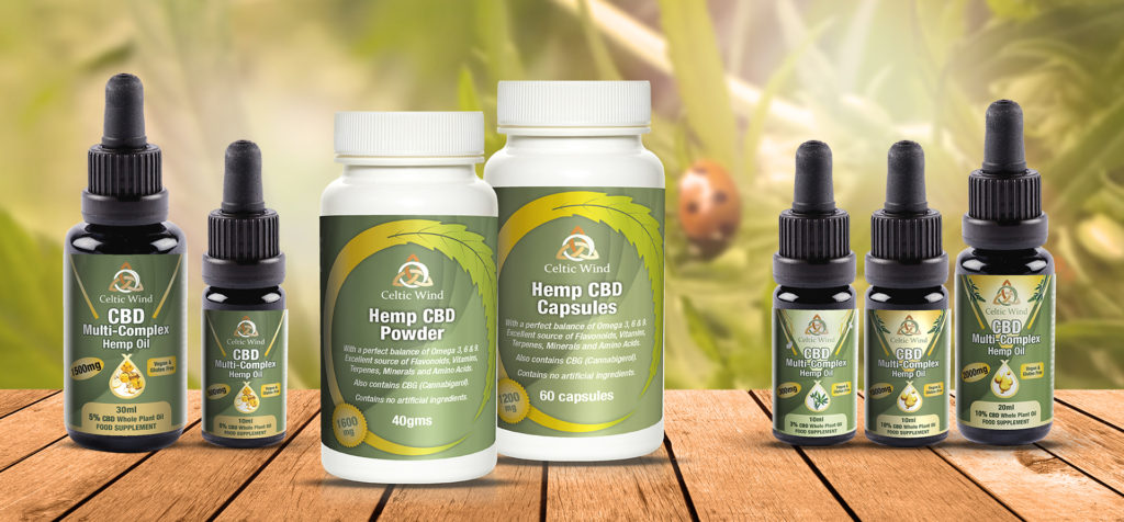 Selection of Celtic Wind Crops CBD Products