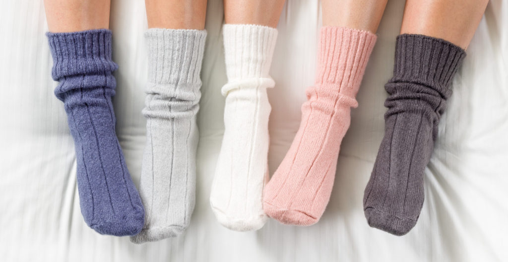 4 bedsocks - blue, pale grey, dark grey, pink, and cream