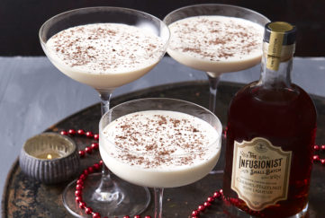 3 glasses of Caramel Frost liqueur, creamy with grated chocolate on top, Christmas cocktails