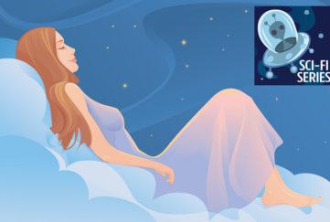 Digital illustration, woman in lilac negligee lying sleeping on a cloud