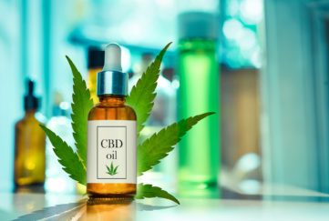 Glass bottle CBD OIL, tincture and cannabis leaf on background laboratory for the production of cannabis oil