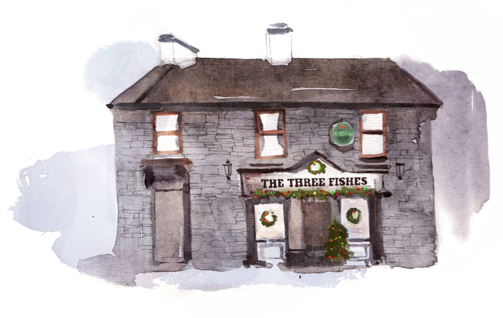 Watercolour sketch of country pub, The Three Fishes
