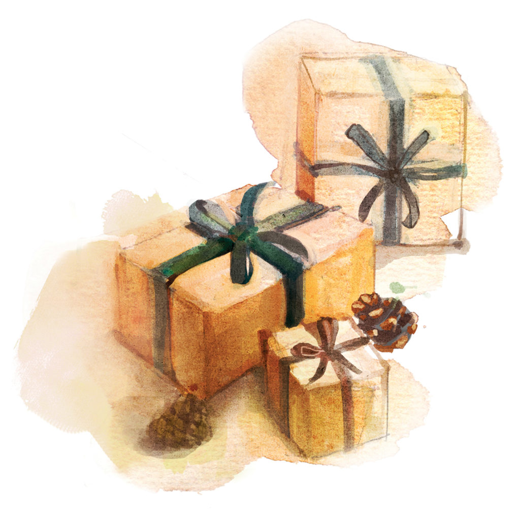 Watercolour of parcels wrapped and tied with ribbon