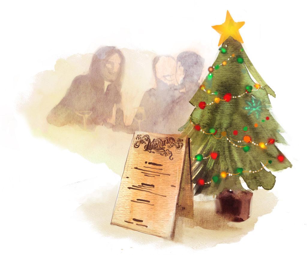 Watercolour sketch. Christmas tree, shadowy people chatting, menu board