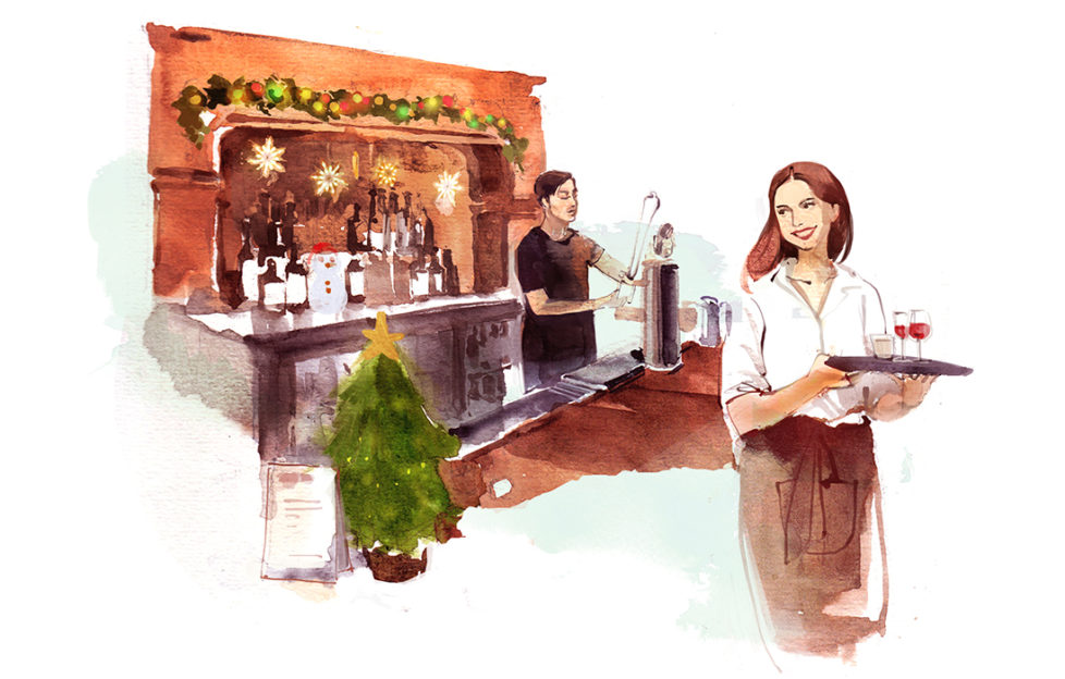 Watercolour sketch. Man behind bar decorated for Christmas, woman carrying glasses on a tray, smiling back at him