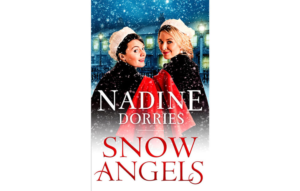 Cover of Snow Angels, two nurses in white caps and red-lined capes walking in the snow, turning back to smile