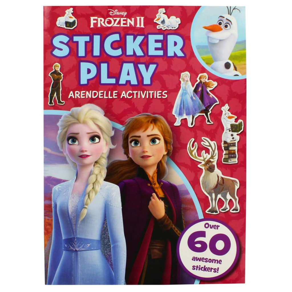 Cover of Frozen 2 sticker book with images of 2 female characters